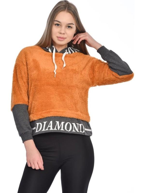 Modkofoni Kapşonlu Baskılı Uzun Kollu Hardal Peluş Sweat Shirt