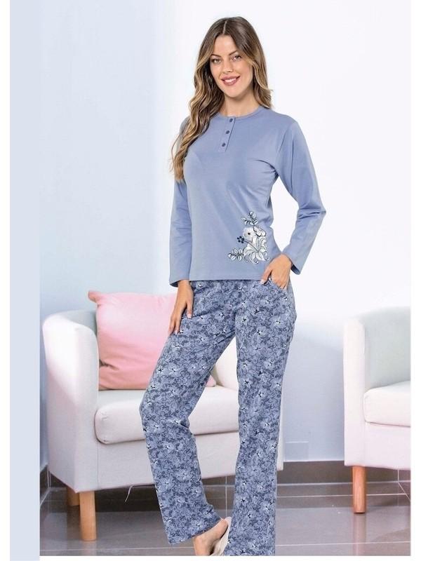 Akare 411 Pamuklu Likralı Uzun Kollu Kadın Pijama Takımı Ev Pijaması