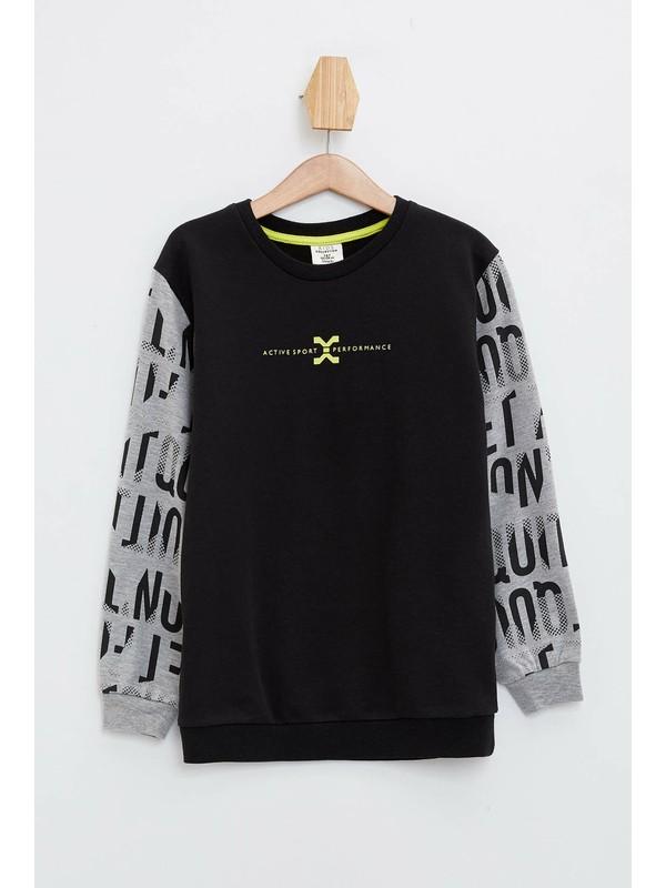 DeFacto Erkek Çocuk Renk Bloklu Yazı Baskılı Sweatshirt N0935A620SP