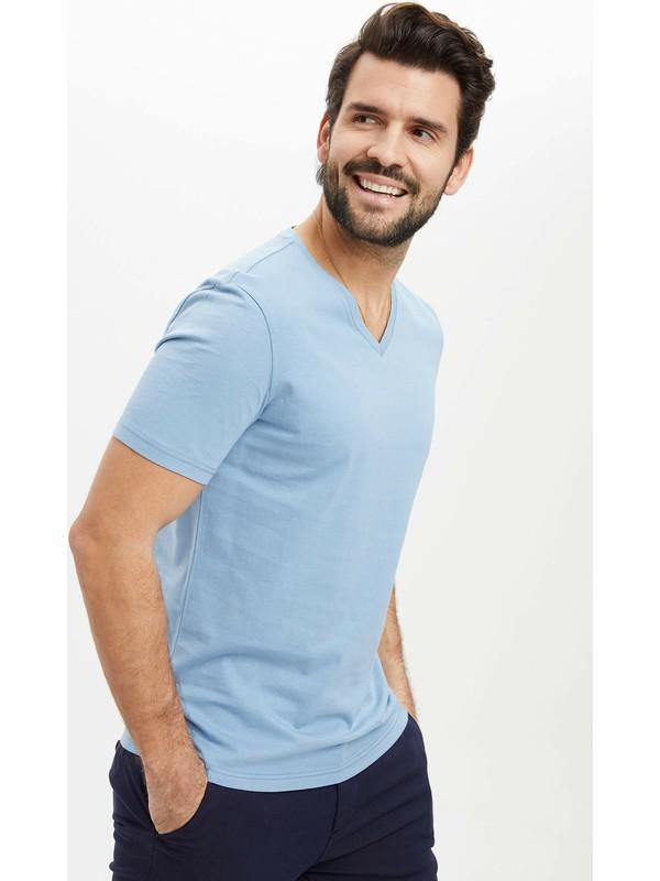 DeFacto Slim Fit V Yaka Basic Mavi Tişört M7668AZ20SP