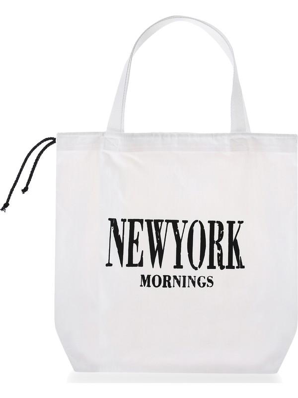Baagistanbul Tasarım Beyaz Renkli Büyük Boy Newyork Baskılı Kadın Omuz Çantası