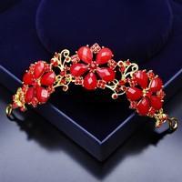 Atölye Pür Hayal Kırmızı Taşlı Çiçek Motifli Saç Aksesuarı