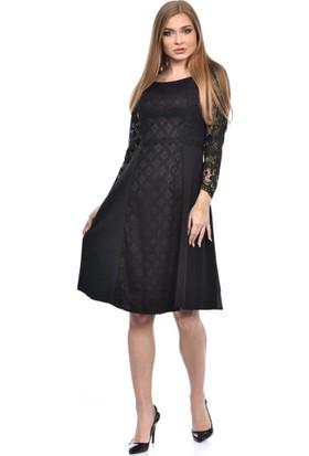 Modkofoni Pencere Yaka Astarlı Uzun Kollu Dantel ve Kupürlü Siyah Elbise