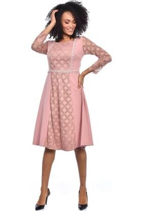 Modkofoni Pencere Yaka Astarlı Uzun Kollu Dantel ve Küpürlü Somon Elbise