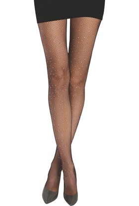 Daymod Külotlu Çorap Rete File Ön Yüzü Parlak Taşlı Siyah 42 - 44