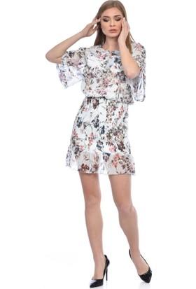 Modkofoni Kısa Kollu ve Yaka Detaylı Belden Lastikli Çiçekli Kısa Şifon Beyaz Elbise 36