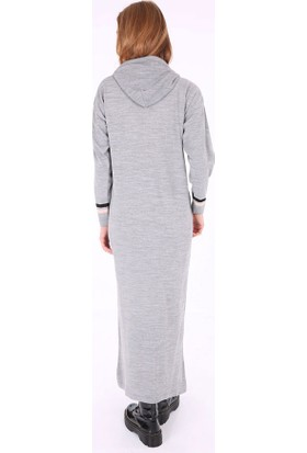 Bigdart 15666 Kapüşonlu Önü Yazı Baskılı Triko Elbise