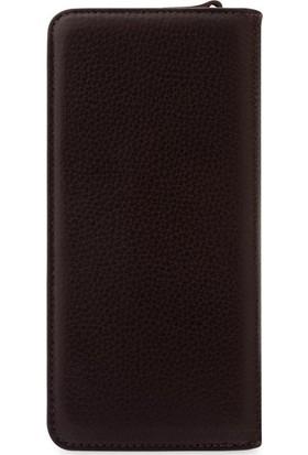 Vianel New York Lucca Deri Kadın Cüzdanı Kahverengi