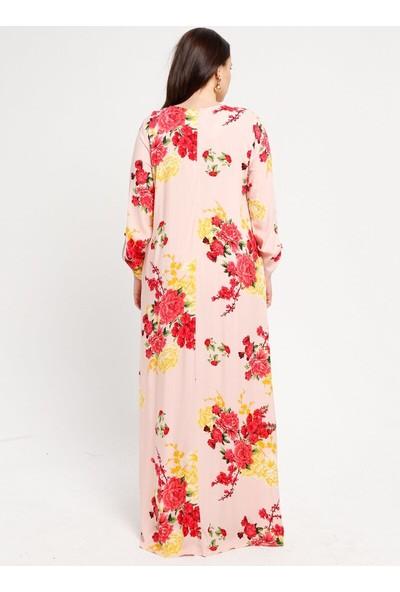 Desenli Elbise - Pudra - Ginezza