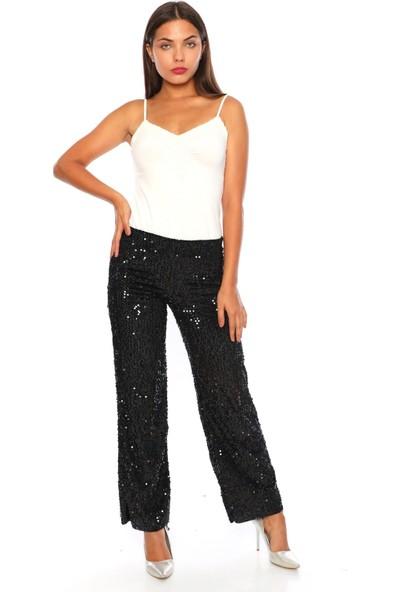 Alfa Abiye 600 Payet Pantolon Düşük Bel Kadın Siyah L