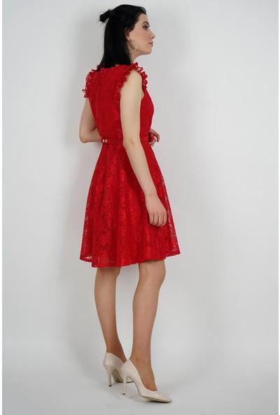 SpringStore Kadın Kırmızı Güpürlü Mezuniyet Elbisesi