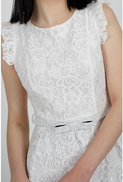SpringStore Kadın Ekru Güpürlü Mezuniyet Elbisesi
