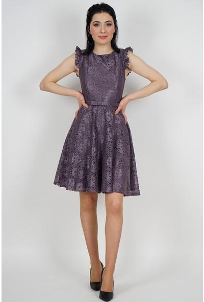 SpringStore Kadın Lavanta Güpürlü Mezuniyet Elbisesi