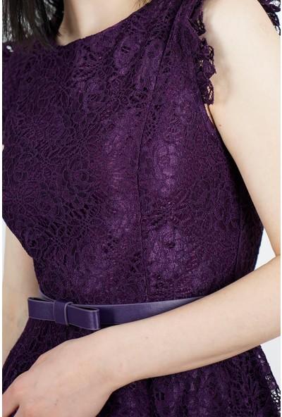 SpringStore Kadın Mor Güpürlü Mezuniyet Elbisesi