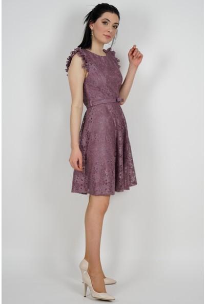 SpringStore Kadın Pudra Güpürlü Mezuniyet Elbisesi