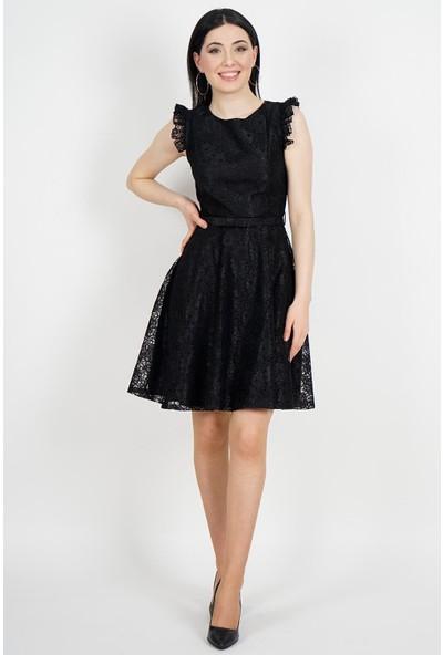 SpringStore Kadın Siyah Güpürlü Mezuniyet Elbisesi