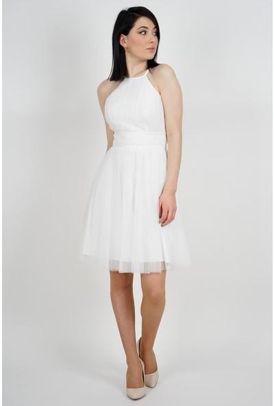 SpringStore Kadın Ekru Beli Drapeli Tül Abiye Elbise