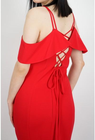 SpringStore Kadın Kırmızı Sırtı İp Detaylı Abiye