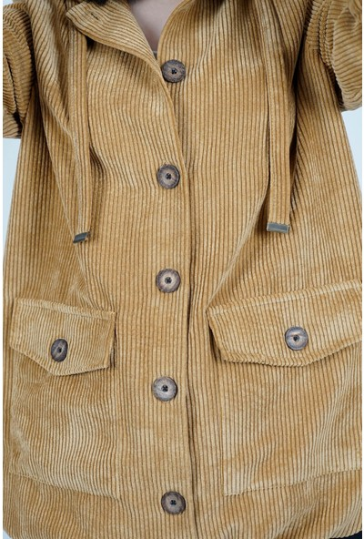 SpringStore Kadın Bej Kadife Bomber Ceket