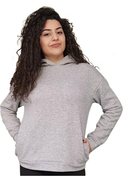 Moda Stoks Unisex Üç Iplik Kapşonlu Gri Sweatshirt