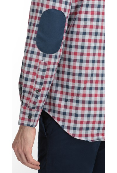 D's Damat Slim Fit Bordo Gömlek