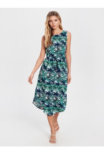 LC Waikiki Kadın Desenli Diz Altı Elbise