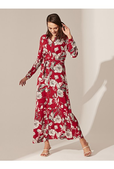 LC Waikiki Kadın Desenli Uzun Elbise
