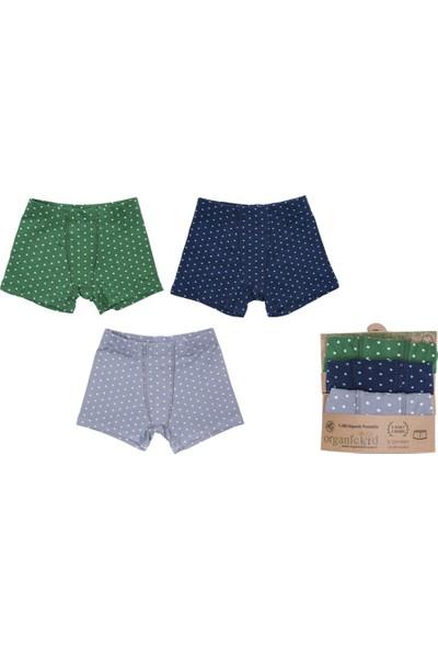 Organickid Erkek Çocuk Boxer Külot 3'lü Set Organik Pamuk Gri, Lacivert, Yeşil Yıldız Desenli 2 Yaş