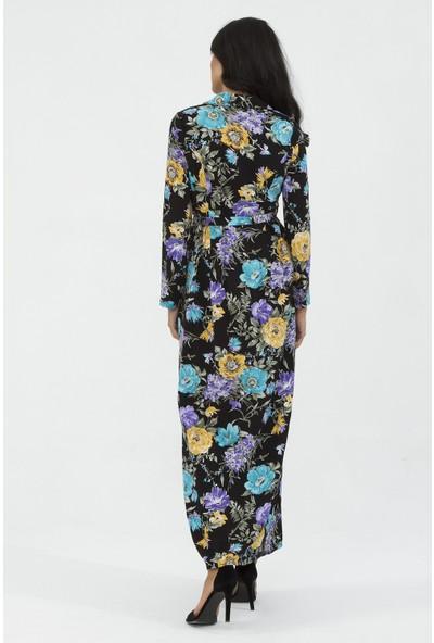 New Laviva Uzun Kollu Viskon Çiçek Desenli Uzun Siyah Kadın Elbise