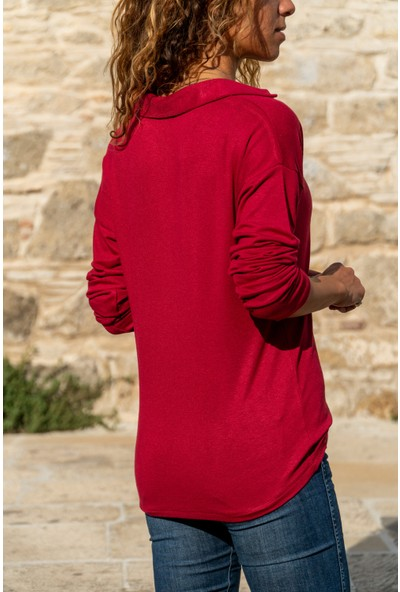 New Laviva V Yaka Uzun Kollu Yakalı Kırmızı Kadın Bluz