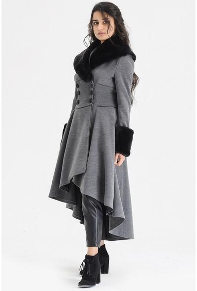 Voichi Designed By Dmt Este 160 cm Boy Kaşe Tasarım Kadın Kaban 34