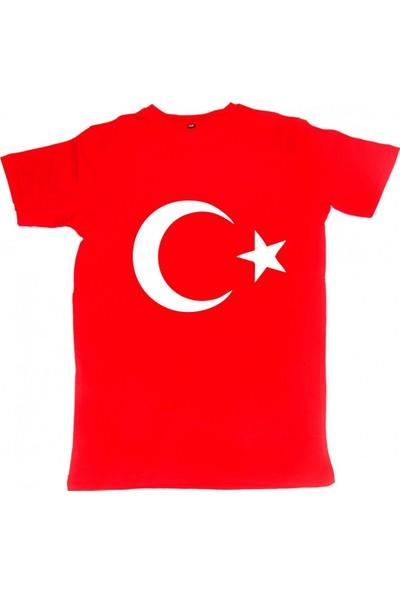 Modatime Ayyıldız Baskılı Tişört Kırmızı