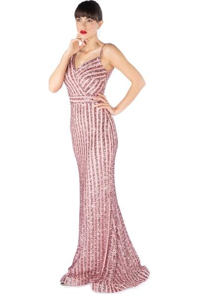 Carmen Pudra Çizgili Payetli Uzun Balık Abiye Elbise
