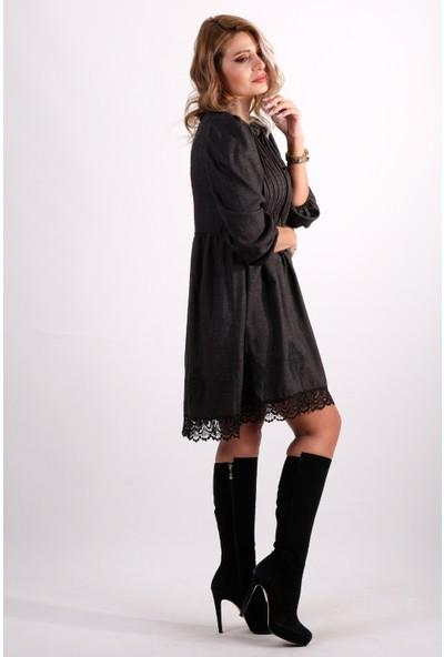 Karol Etek Ucu Nakışlı Elbise