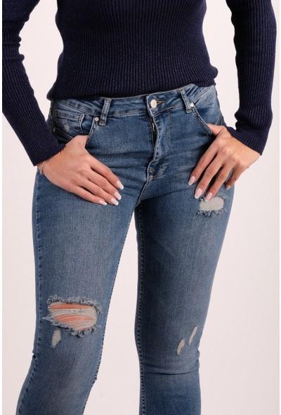 Karol Yüksek Bel Yırtıklı Skinny Jean