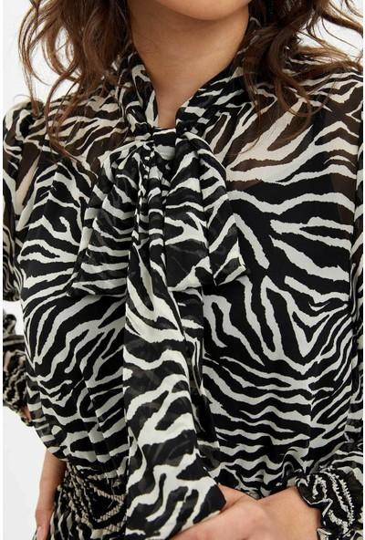 DeFacto Desenli Uzun Dokuma Elbise R1269AZ20SP