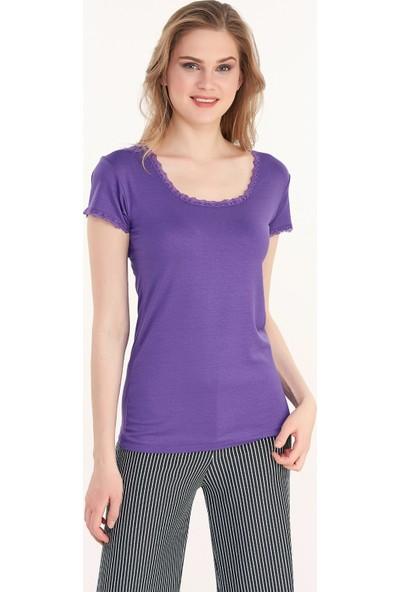 FullaModa Kadın Dantel Detaylı Bluz