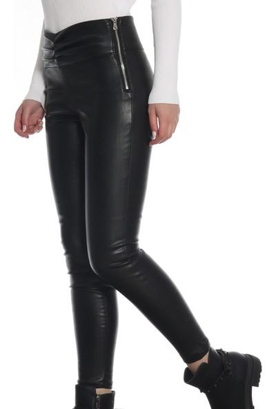 Dilvin Kadın Kemer Bölümü Büzgülü Deri Pantolon PA7465 Siyah/Black 29W34007465