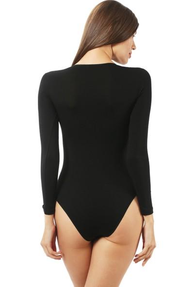 Özkan Bayan Çıtçıtlı Uzun Kollu Body 0600 Siyah