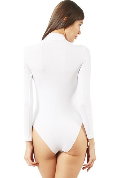 Özkan Bayan Çıtçıtlı Body 0614 Beyaz