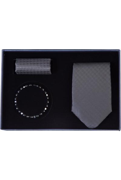 Kiğılı Erkek 3'Lü Kravat Mendil Bileklik Set