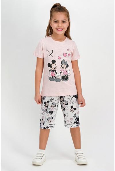 Mickey Mouse Lisanslı Somon Kız Çocuk Kapri Takım