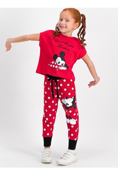 Mickey Mouse Lisanslı Kırmızı Kız Çocuk Pijama Takımı