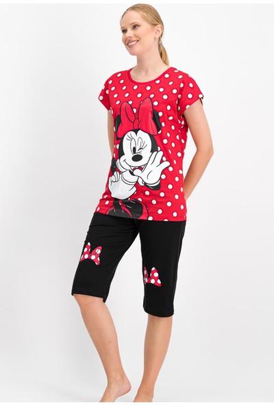 Minnie Mouse Lisanslı Kırmızı Kadın Kapri Takım