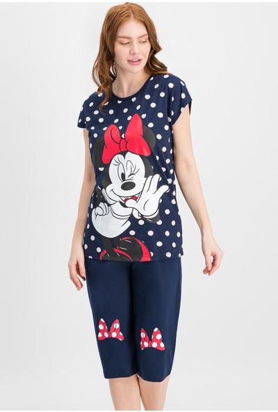 Minnie Mouse Lisanslı Lacivert Kadın Kapri Takım