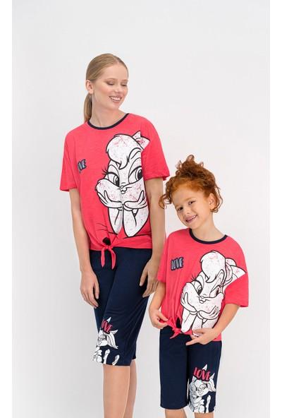 Bugs Bunny Lisanslı Nar Çiçeği Kadın Kapri Takım