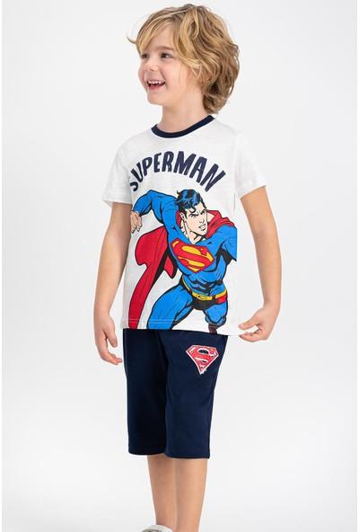 Superman Lisanslı Krem Erkek Çocuk Kapri Takım