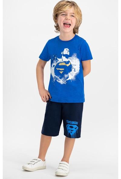 Superman Lisanslı Cobalt Erkek Çocuk Bermuda Takım