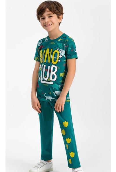 RolyPoly Dino Club Koyu Yeşil Erkek Çocuk Pijama Takımı