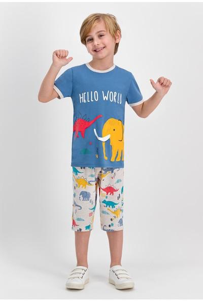 RolyPoly Hello World Koyu İndigo Erkek Çocuk Kapri Takım